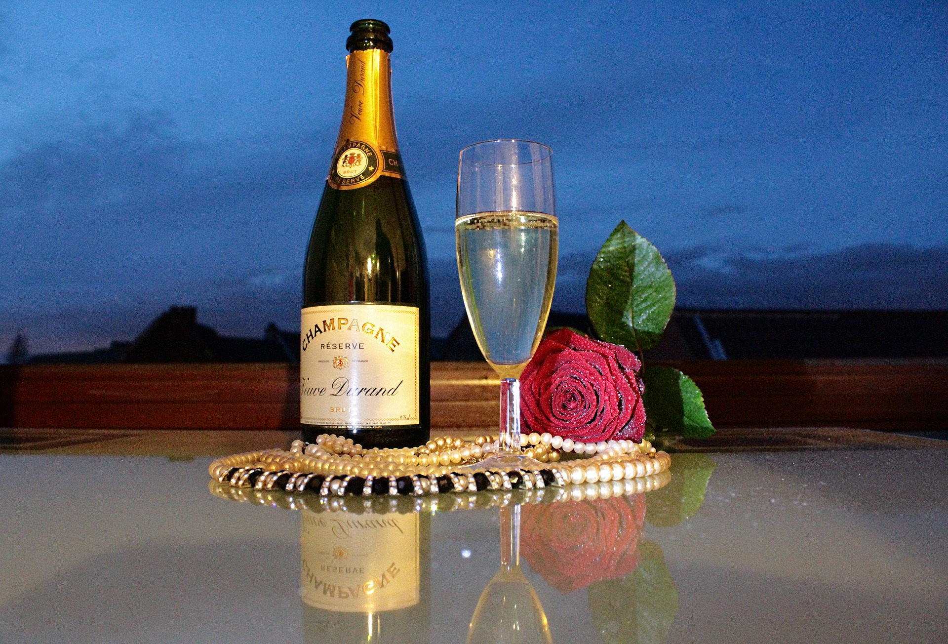 Сделать, открытка роза с шампанским