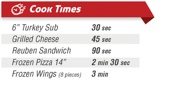 Pratica Speed Oven Cook Times